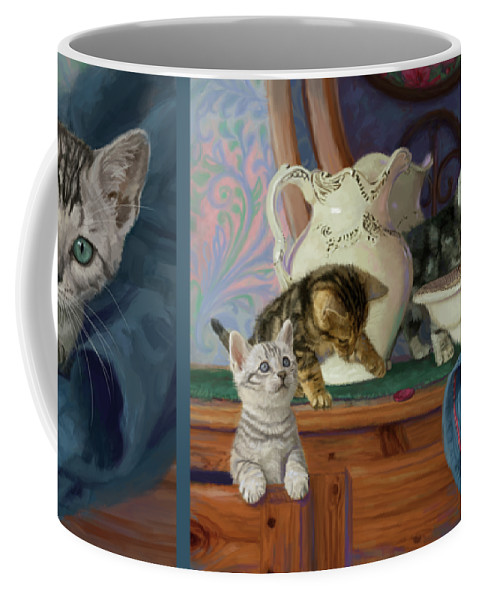 Cat Coffee Mug featuring the painting Joyful Morning by Lucie Bilodeau