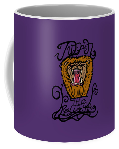 Lion Coffee Mug featuring the drawing Judah The Real Lion King by Robert Watson