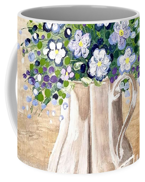 Bouquet Coffee Mug featuring the painting Jug Bouquet by Nermine Hanna