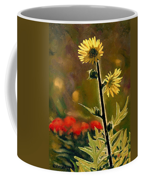Prairie Flowers Coffee Mug featuring the painting July Afternoon-Compass Plant by Bruce Morrison