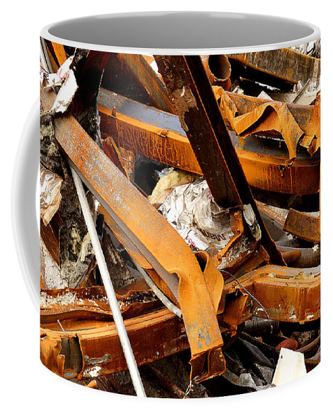 Steel Coffee Mug featuring the photograph Jumbled Steel by Jean Macaluso