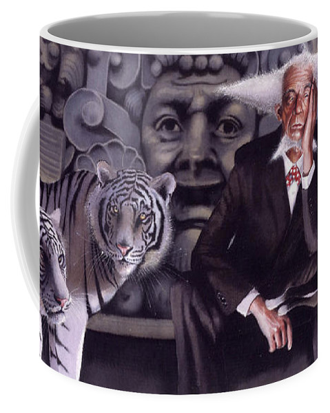 Tigers Coffee Mug featuring the painting Jumping The Hoop by Denny Bond