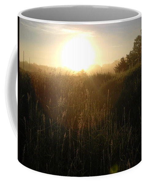 Sunrise Coffee Mug featuring the photograph June Sunrise Over Dew On Grass by Kent Lorentzen