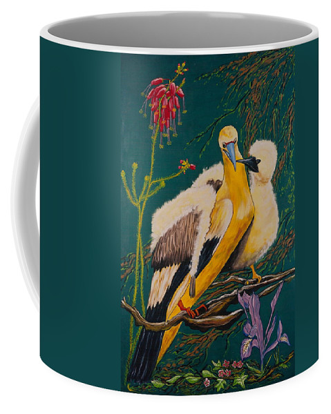 Birds Coffee Mug featuring the painting Jungle Baby by V Boge