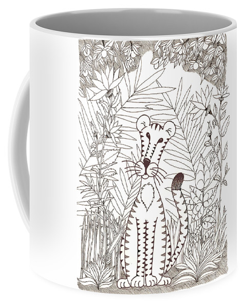 Tiger Coffee Mug featuring the painting Jungle Cat by Emily Fotis