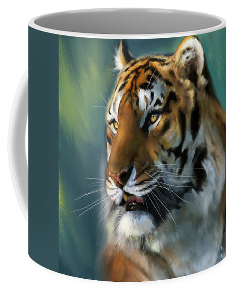Tiger Coffee Mug featuring the painting Jungle Emperor by Arie Van der Wijst