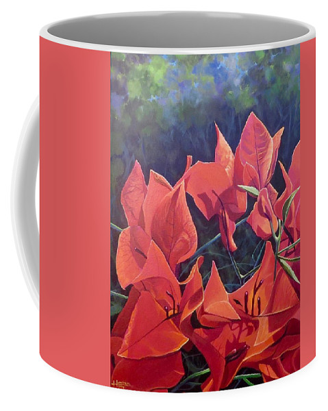 Bougainvillea Coffee Mug featuring the painting Jungle Fire by Hunter Jay