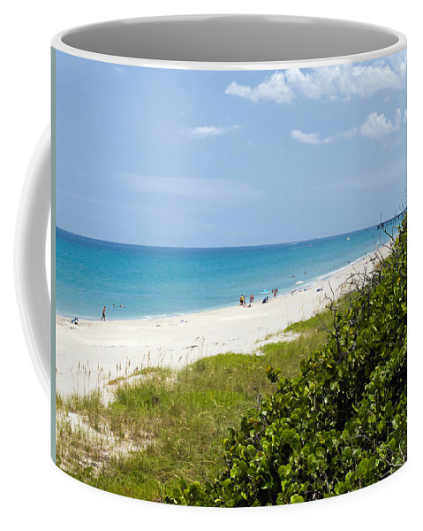 Juno; Florida; Loxahatchee; River; Jupiter; Inlet; Swim; Swimming; Children; Girl; Boy; Woman; Man; Coffee Mug featuring the photograph Juno Beach On The East Coast Of Florida by Allan Hughes