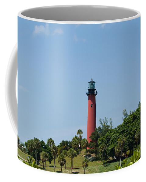 Florida; Juptier; Inlet; Loxahatchee; River; Atlantic; Coast; Shore; Beach; Light; Lighthouse; Beaco Coffee Mug featuring the photograph Jupiter Florida by Allan Hughes