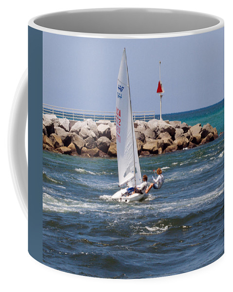 Florida; Jupiter; Inlet; Loxahatchee; River; Beach; Shore; Coast; Sand; Sandy; Ocean; Sea; Atlantic; Coffee Mug featuring the photograph Jupiter Inlet In Florida by Allan Hughes