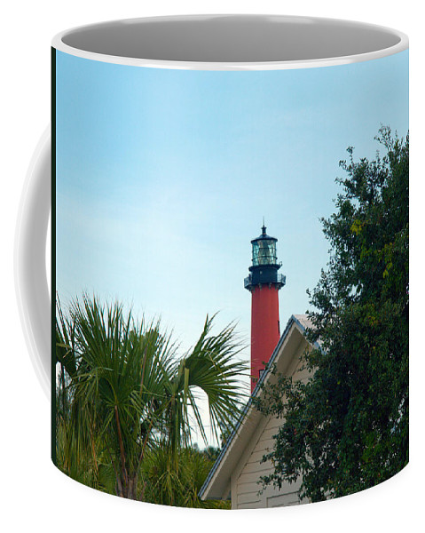 Florida; Juptier; Inlet; Loxahatchee; River; Atlantic; Coast; Shore; Beach; Light; Lighthouse; Beaco Coffee Mug featuring the photograph Jupiter Light by Allan Hughes