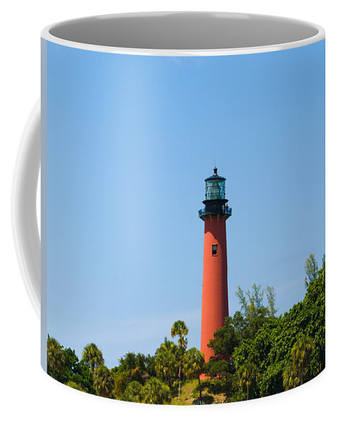 Florida; Juptier; Inlet; Loxahatchee; River; Atlantic; Coast; Shore; Beach; Light; Lighthouse; Beaco Coffee Mug featuring the photograph Jupiter Light In Florida by Allan Hughes