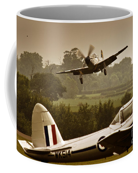 Aircraft Coffee Mug featuring the photograph Just Before Landing by Angel Ciesniarska