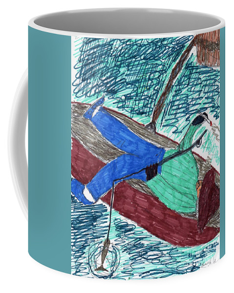 Man In Boat Resting Smoking And Fishing Coffee Mug featuring the mixed media Just Fishin by Elinor Rakowski