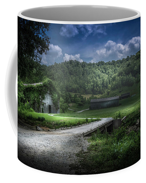 Barn Coffee Mug featuring the photograph Just Over The Bridge by Marvin Spates