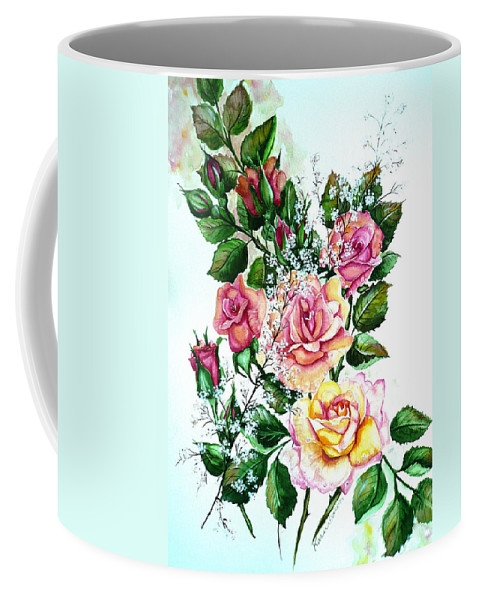 Floral Paintings Pink Paintings  Rose Paintings  Flower Paintings Botanical Paintings Greeting Card Paintings Canvas Prints Paintings Poster Prints Paintings Babies Breath Painting  Coffee Mug featuring the painting Just Roses by Karin Dawn Kelshall- Best