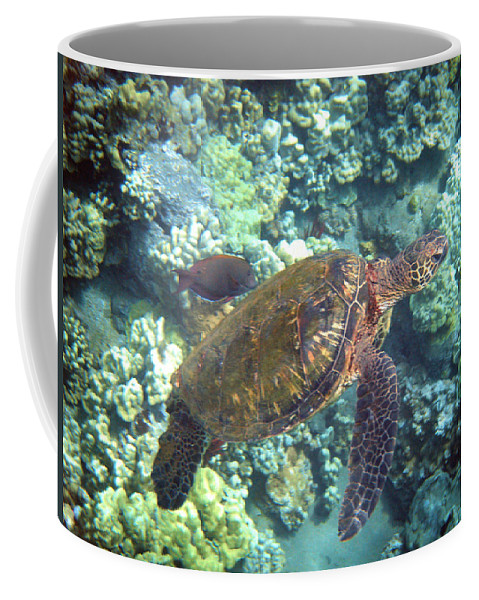 Sea Turtle Coffee Mug featuring the photograph Just Tagging Along by Angie Hamlin