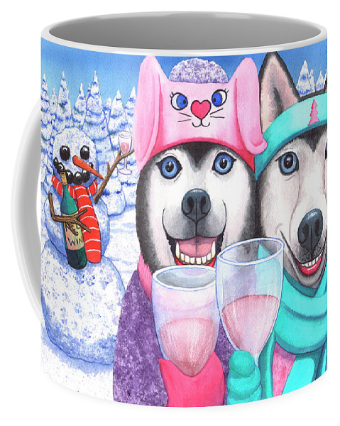 Husky Coffee Mug featuring the painting Just Wining In A Winter Wonderland by Catherine G McElroy