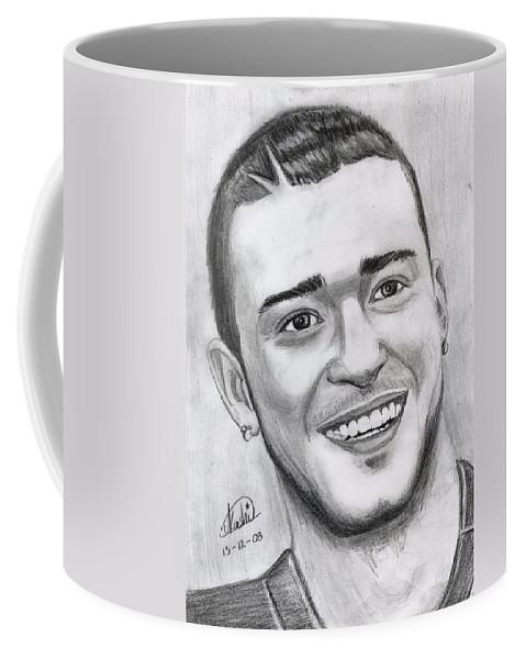Justing Timberlake Coffee Mug featuring the drawing Justing Timberlake Portrait by Alban Dizdari