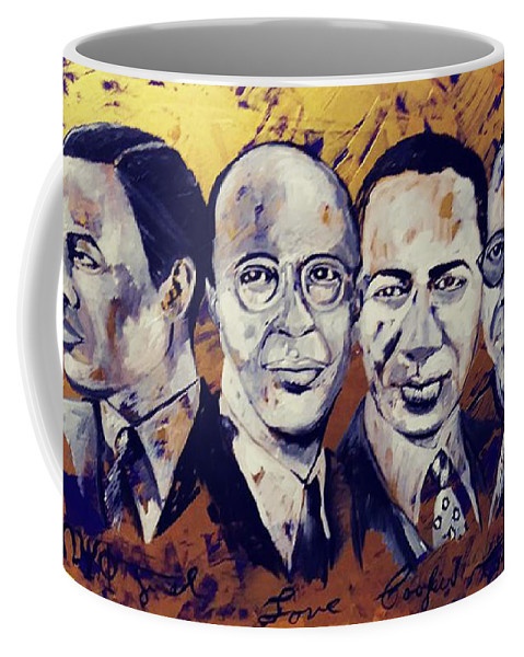 Omega Psi Phi Founders Coffee Mug featuring the painting Justlovecoopercoleman by Charis Kelley