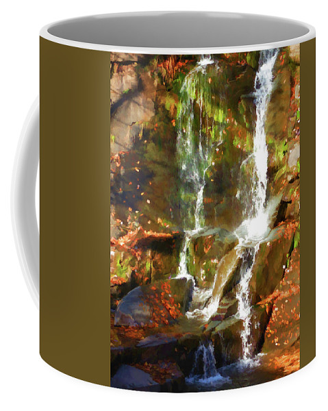 Adventure Coffee Mug featuring the painting Cascading Water by Jeelan Clark