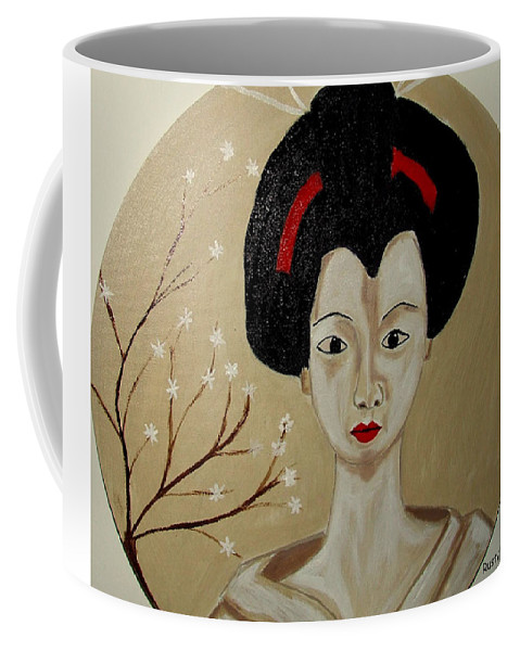 Japanese Coffee Mug featuring the painting Kabuki Girl by Rusty Gladdish