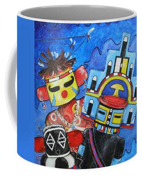 Native Coffee Mug featuring the painting Kachina Knights by Elaine Booth-Kallweit