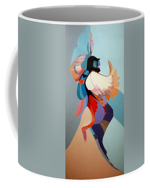 Kwahu Coffee Mug featuring the painting Kachina Kwahu by Marlene Burns