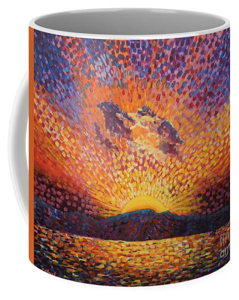 Landscape Coffee Mug featuring the painting Kaleidoscope Sunrise by Caroline Street