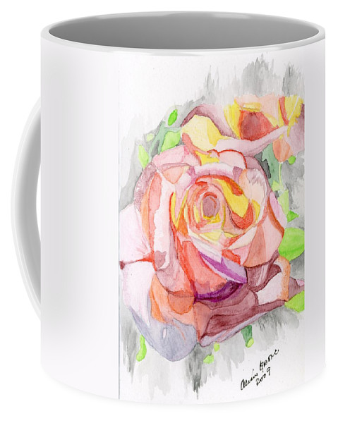 Rose Coffee Mug featuring the painting Kaleidoscopic Rose by Alexis Grone