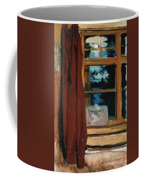 Akseli Gallen-kallela Coffee Mug featuring the painting Kalelas Library In Moonlight by Celestial Images