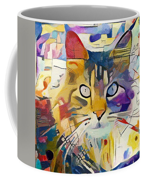 Kandinsky Coffee Mug featuring the digital art Kandinsky Cat by Yury Malkov