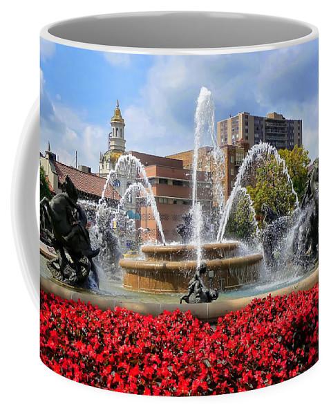 Kansas City Coffee Mug featuring the photograph Kansas City Fountain Ablaze In Crimson by Mitchell R Grosky
