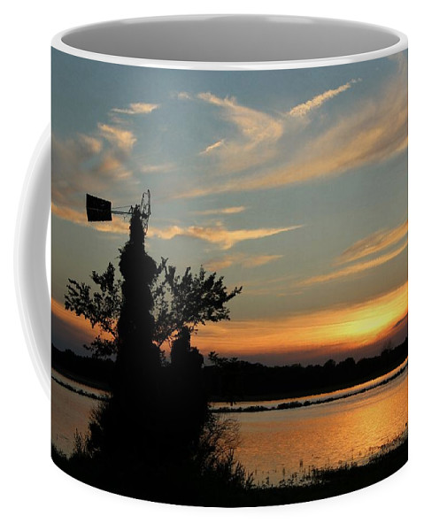 West Coffee Mug featuring the photograph Kansas Sunset And Windmill by Chris Berry