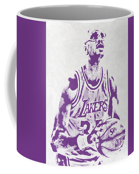 Kareem Abdul Jabbar Coffee Mug featuring the mixed media Kareem Abdul Jabbar Los Angeles Lakers Pixel Art by Joe Hamilton