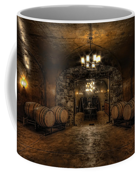 Hdr Coffee Mug featuring the photograph Karma Winery Cave by Brad Granger
