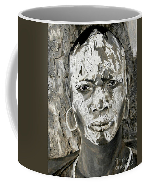 Tribal Art Coffee Mug featuring the painting Karo Man by Portraits By NC