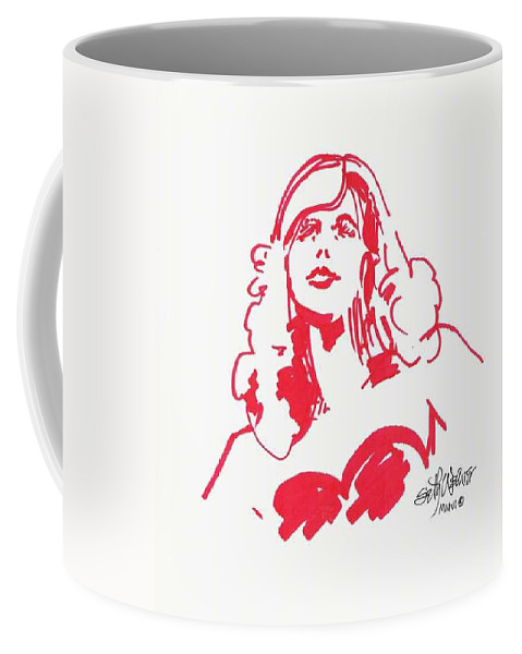 A Fashion Model And Movie Star Captured In A Classic %0 Coffee Mug featuring the drawing Kate Moss by Seth Weaver