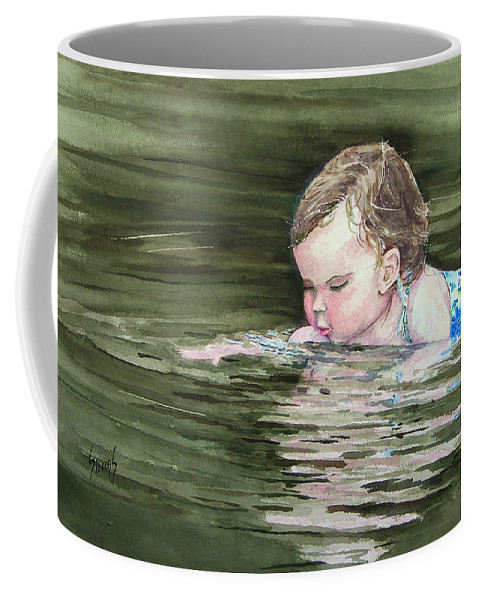 Child In River Coffee Mug featuring the painting Katie Wants A River Rock by Sam Sidders