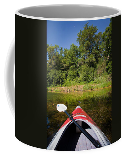 Boat Coffee Mug featuring the photograph Kayak On A Forested Lake by Steve Gadomski