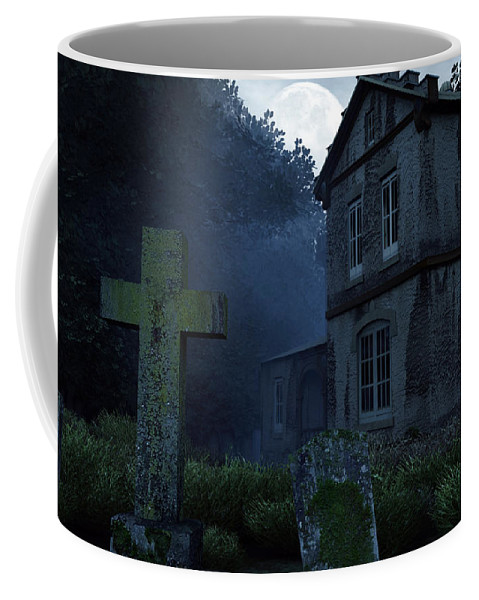 Dark Coffee Mug featuring the digital art Keepers Of The Manor by Richard Rizzo