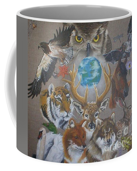 Earth Owl Bat Horse Hare Frog Wolf Deer Fox Swan Tiger Kestrel Spider Drogonfly Butterfly Ladybird Coffee Mug featuring the painting Keepers Of The Realm by Pauline Sharp