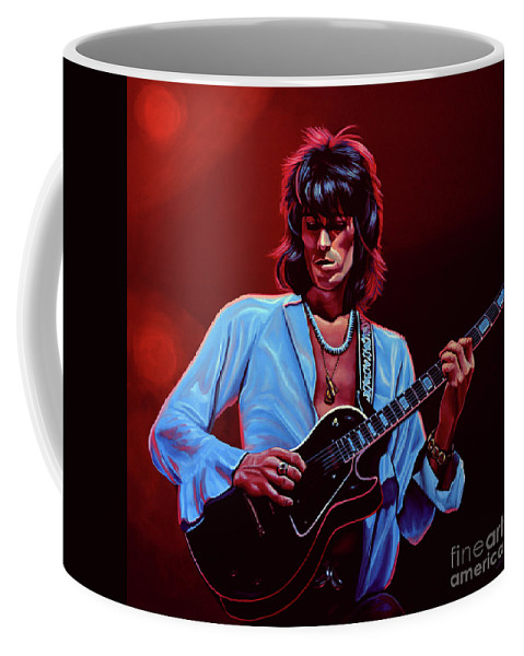 Keith Richards Coffee Mug featuring the painting Keith Richards The Riffmaster by Paul Meijering