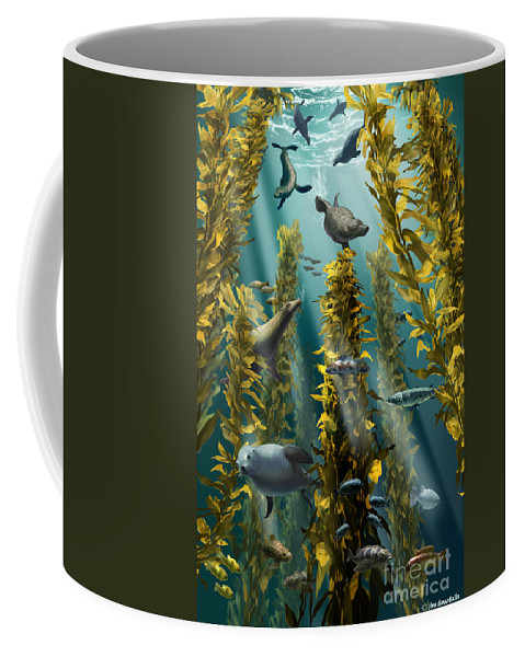 Kelp Forest Coffee Mug featuring the photograph Kelp Forest With Seals by Jim Dowdalls