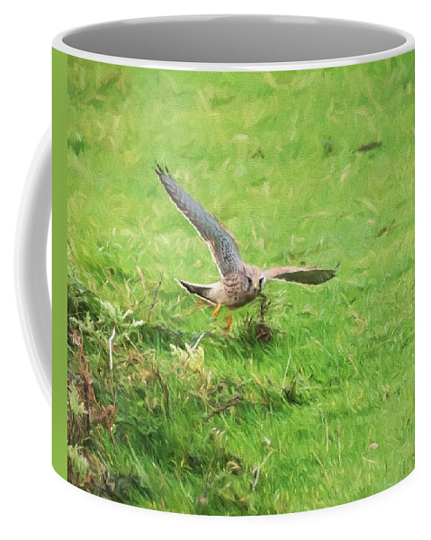 Carnivore Coffee Mug featuring the mixed media Kestrel Landing by Roy Pedersen