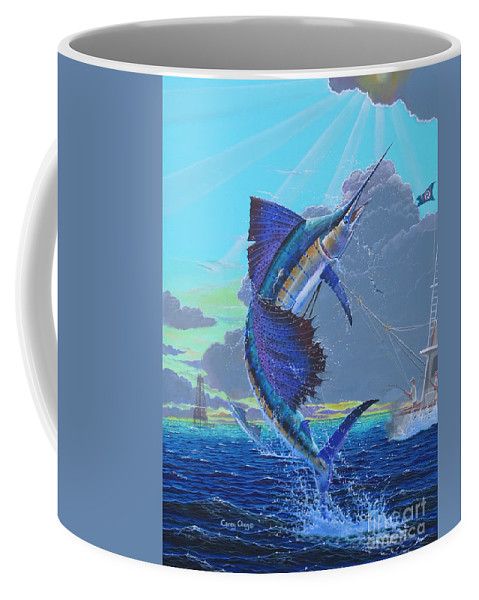 Sailfish Coffee Mug featuring the painting Key Sail Off0040 by Carey Chen