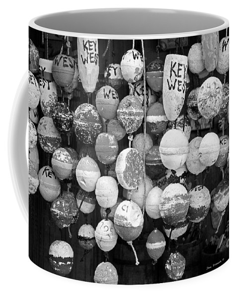 Lower Keys Coffee Mug featuring the photograph Key West Lobster Buoys Black And White by John Stephens