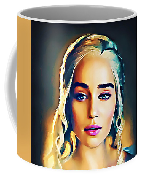 Paint Coffee Mug featuring the mixed media Khaleesi - Game Of Thrones by Nenad Vasic