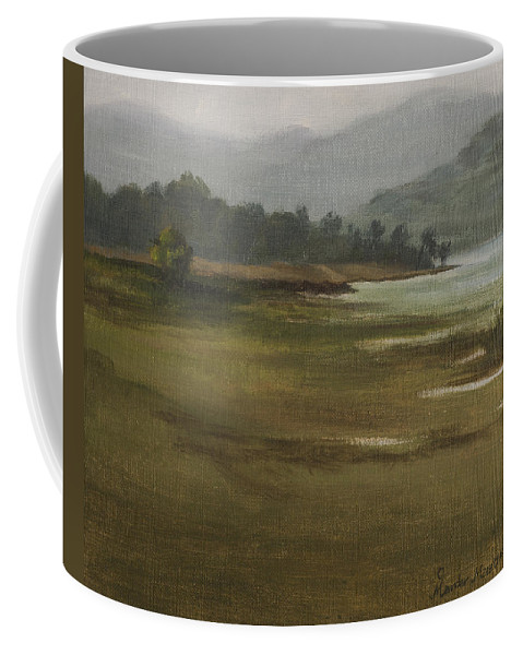 Landscape Coffee Mug featuring the painting Khandakwasla Haze by Mandar Marathe