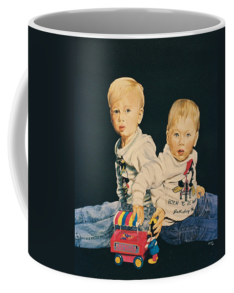 Kids Coffee Mug featuring the painting Kids by Bryan Bustard
